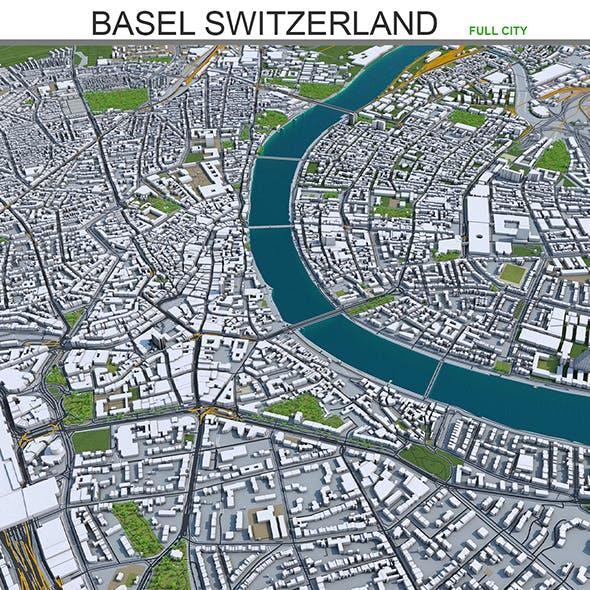 Basel City Switzerland 3D Model 50km
