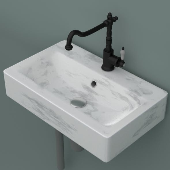 Marble sink with mixer faucet and pipes