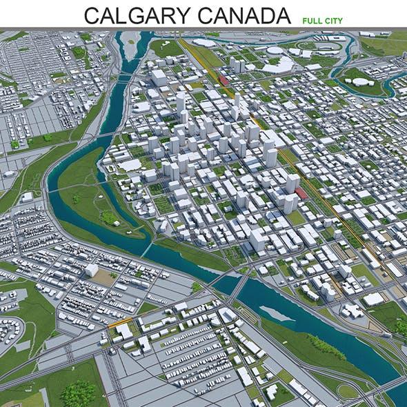 Calgary City Canada 3D Model 60km