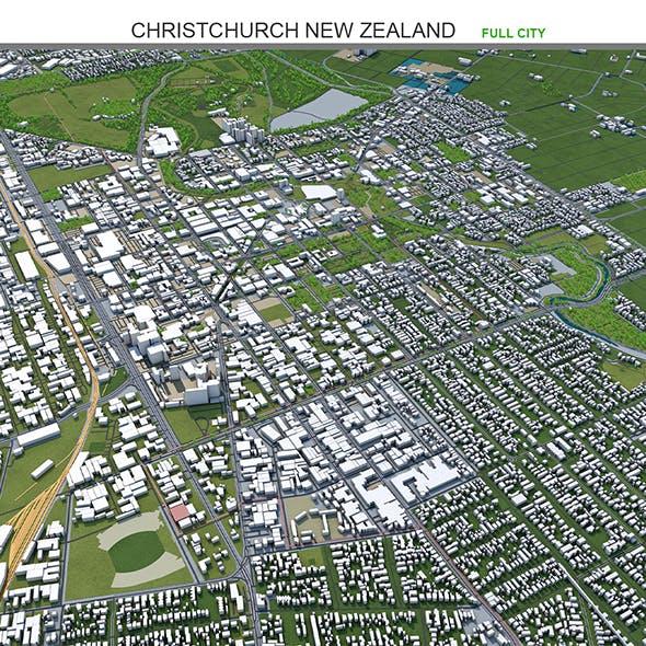 Christchurch City New Zealand 3D Model 50km - 3DOcean Item for Sale