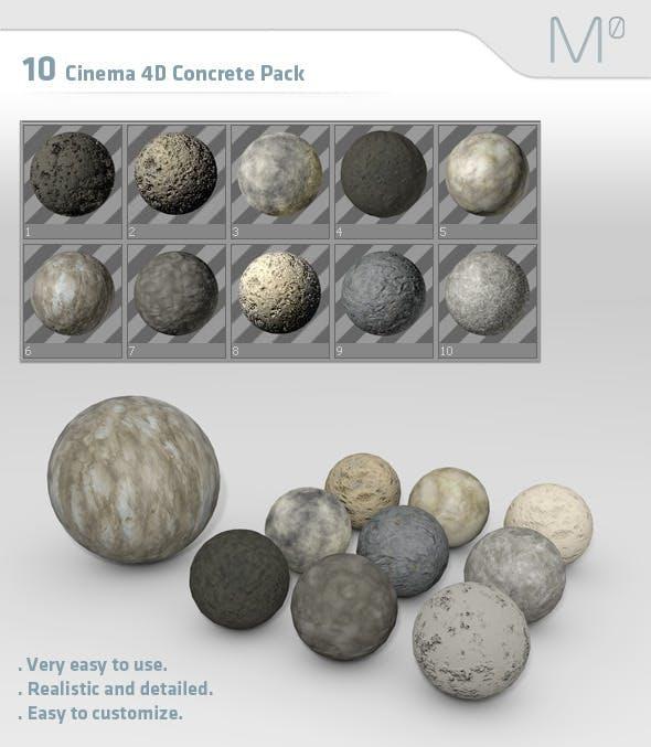 10 Cinema 4D Concrete Material Pack - 3DOcean Item for Sale