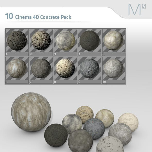 10 Cinema 4D Concrete Material Pack