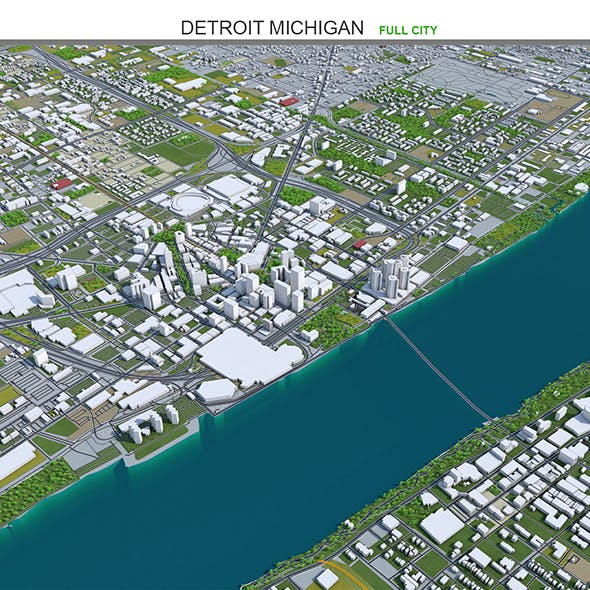 Detroit City Michigan 3D Model 70km