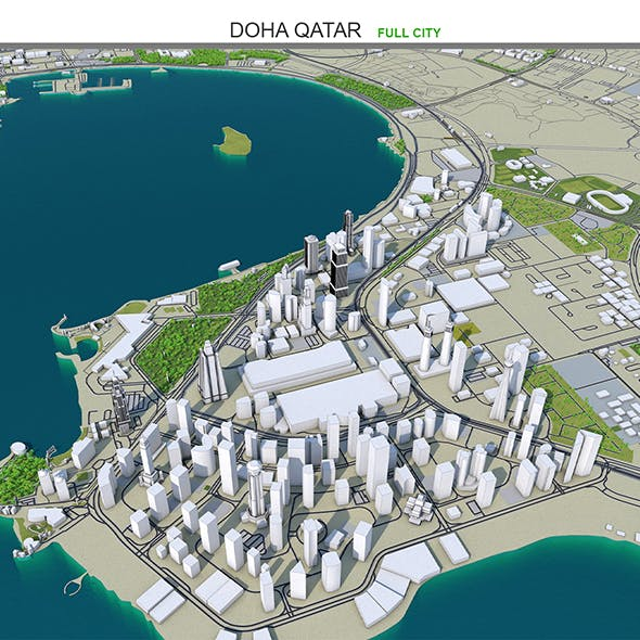 Doha city 3d model Qatar 50km