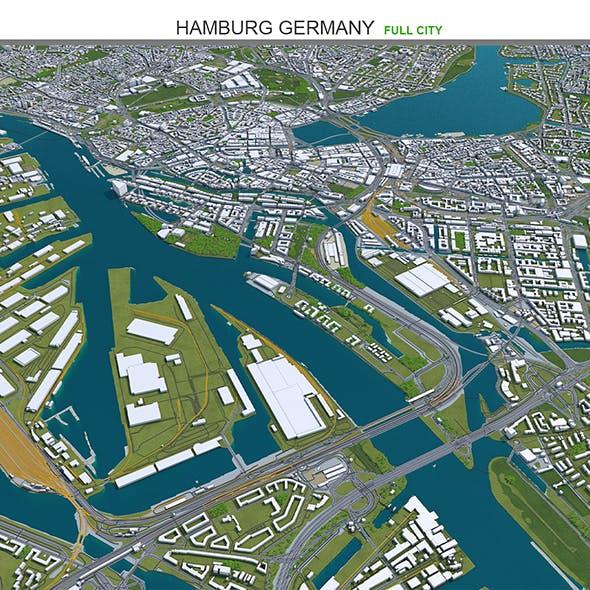Hamburg City Germany 3D Model 50km