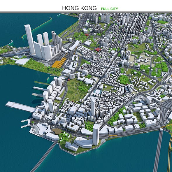 Hong Kong City 3D Model 50km
