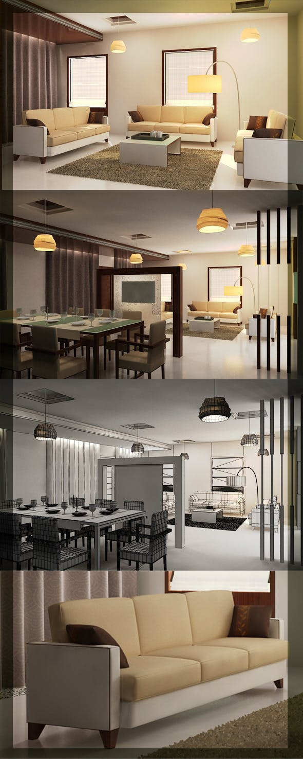 Realistic Living & Dining interior 3D - 3DOcean Item for Sale