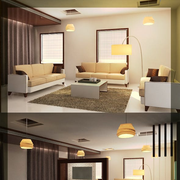Realistic Living & Dining interior 3D