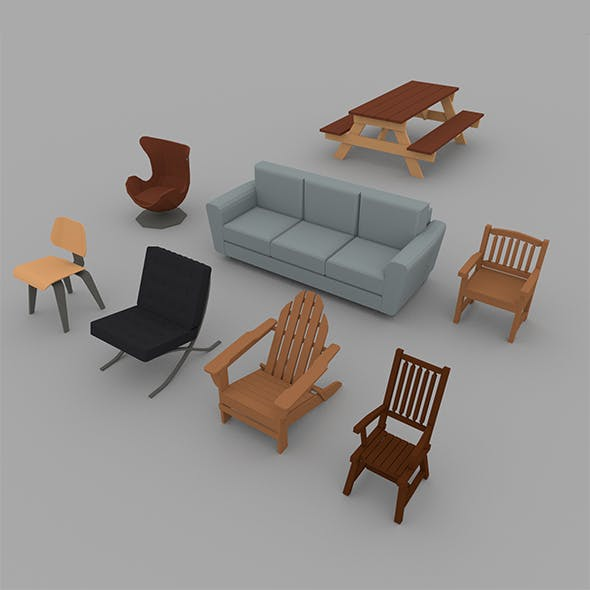 Low Poly Chair Pack - 3DOcean Item for Sale