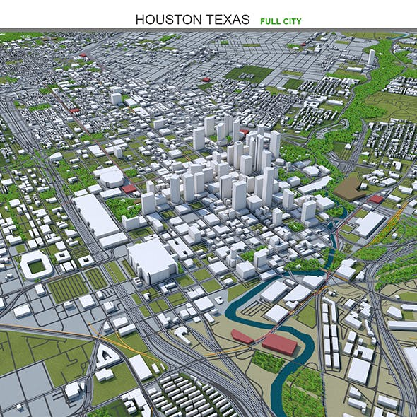 Houston Texas City 3D model 100km