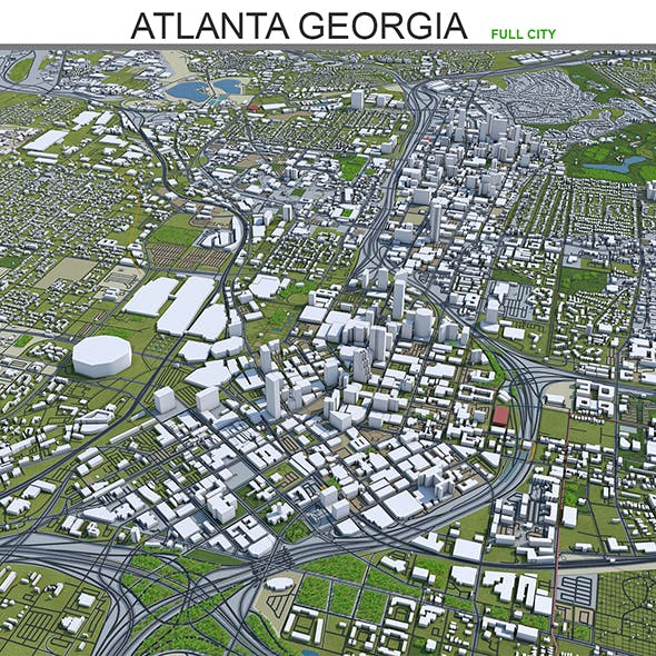 Atlanta City 3D Model Georgia 40km