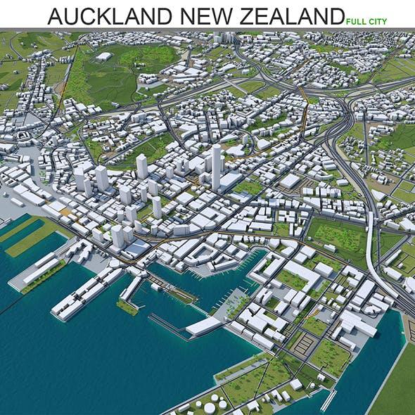 Auckland City 3d model New Zealand 100km