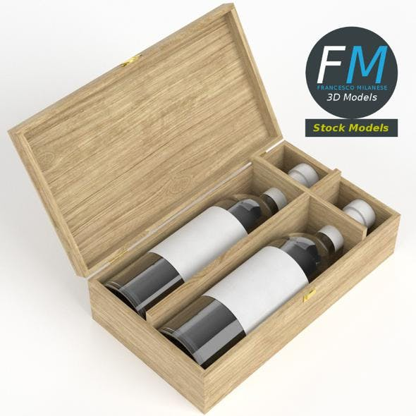 Wooden box with two wine bottles - 3DOcean Item for Sale