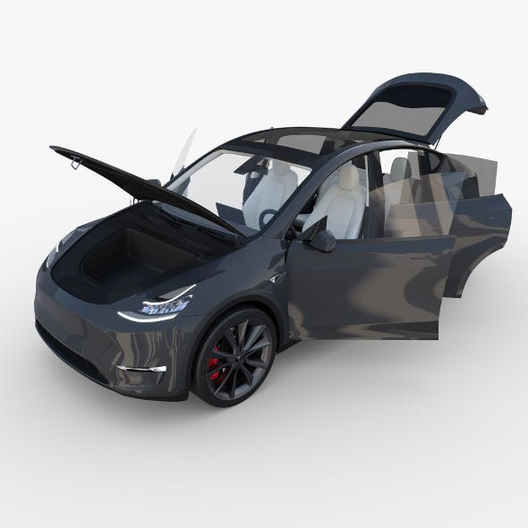Tesla Model Y Midnight Silver with interior - 3DOcean Item for Sale