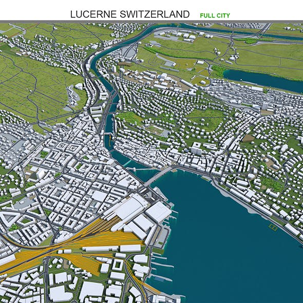 Lucerne City 3D Model Switzerland 30km