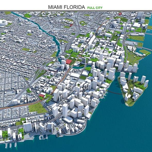 Miami Florida City 3D Model 30km