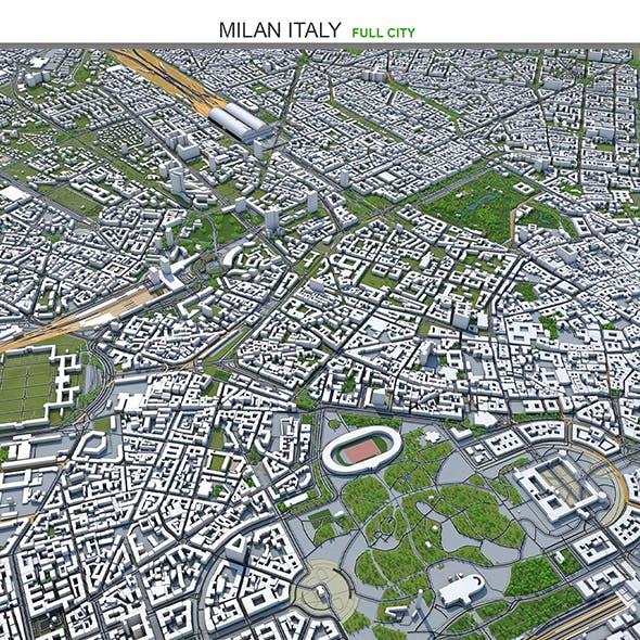 Milan City Italy 3D Model 50km