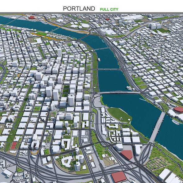 Portland City Oregon USA 3D Model 50km