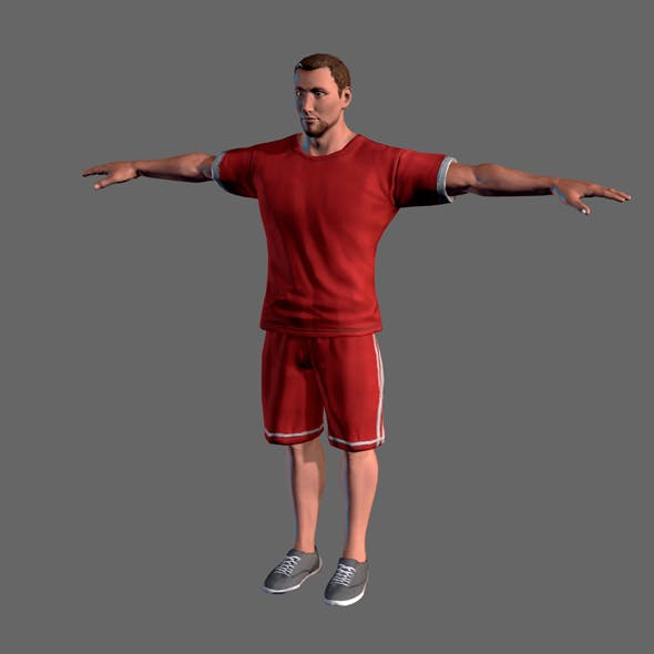 Animated Sportsman-Rigged 3d game character Low-poly 3D model