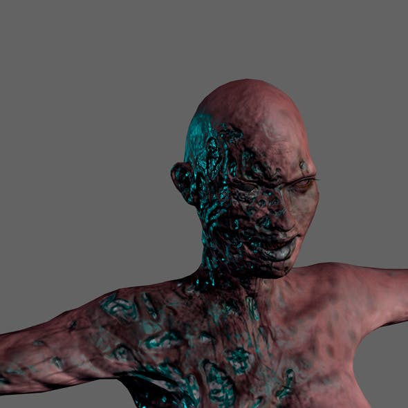 Animated Zombie woman-Rigged 3d game character Low-poly 3D model