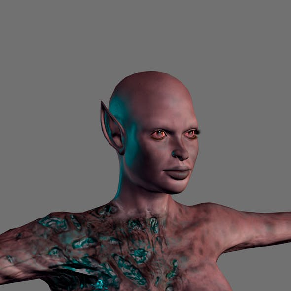 Animated Zombie Elf-Rigged 3d game character Low-poly 3D model