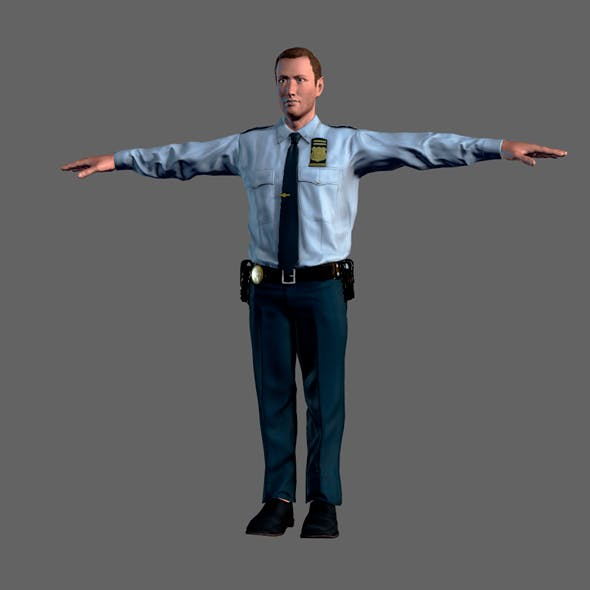 Animated Police Officer-Rigged 3d game character Low-poly 3D model - 3DOcean Item for Sale