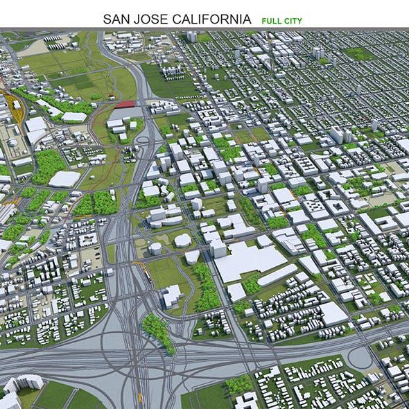 San Jose City California 3D Model 50km