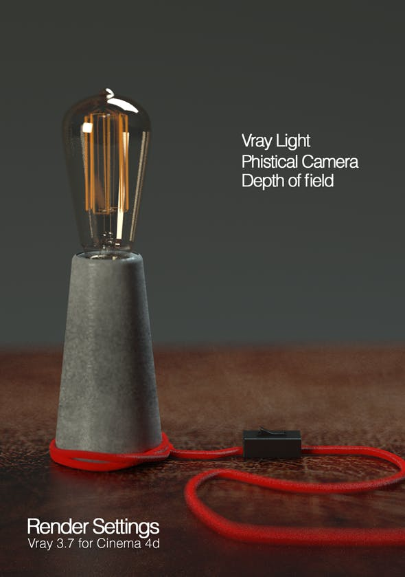 Cinema 4d and vray 3.7 setups Concrete lighthouse lamp - 3DOcean Item for Sale
