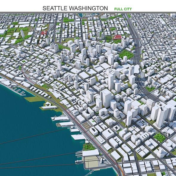 Seattle City Washington 3D model 55km