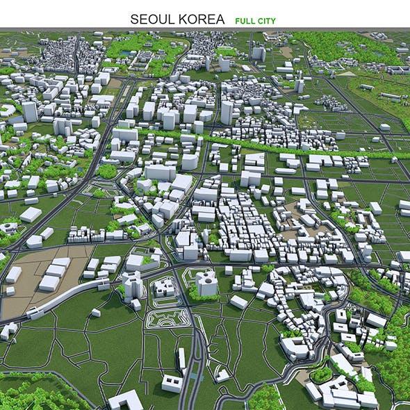 Seoul City Korea 3D model 40km