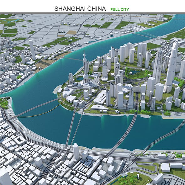 Shanghai City China 3D model 100km
