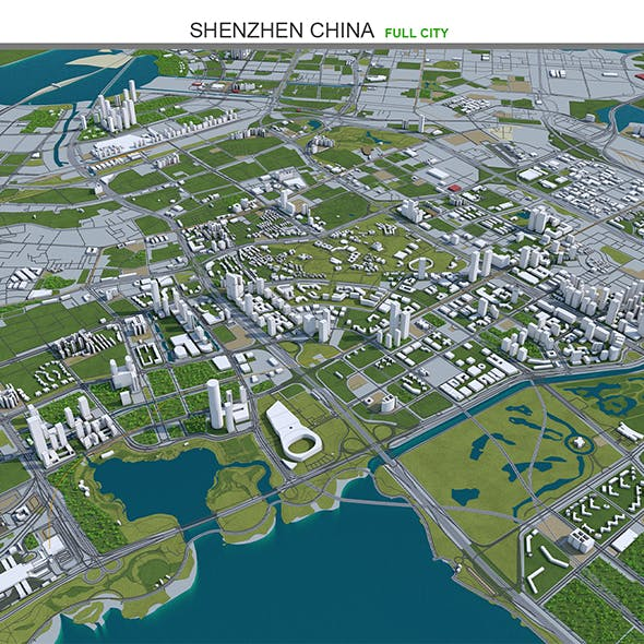 Shenzhen City China 3D model 120km - 3DOcean Item for Sale