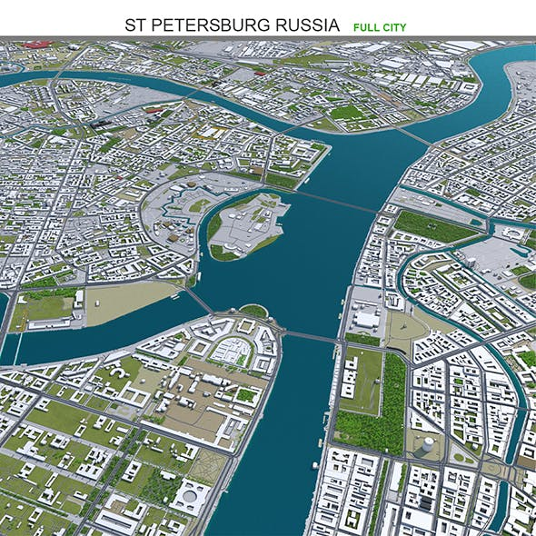 St Petersburg City Russia 3D Model 50km