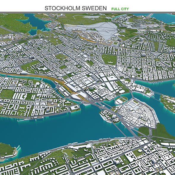 Stockholm City Sweden 3D Model 50km - 3DOcean Item for Sale