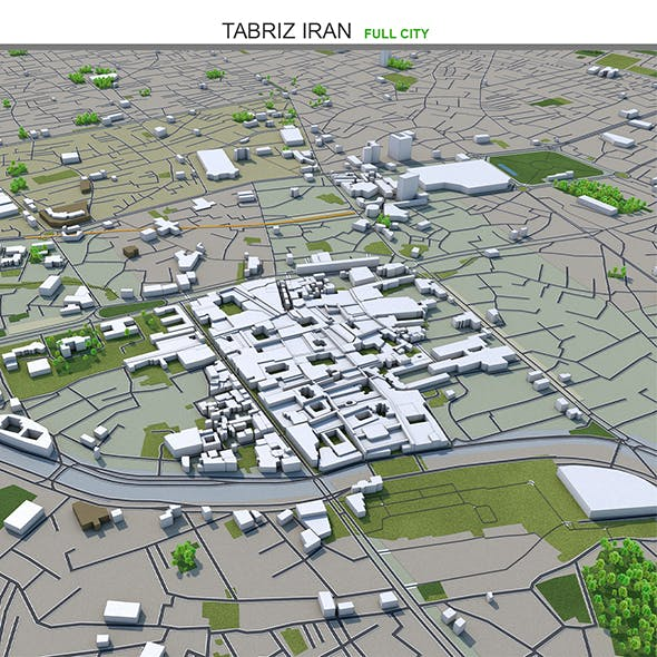 Tabriz City Iran 3D Model 50km