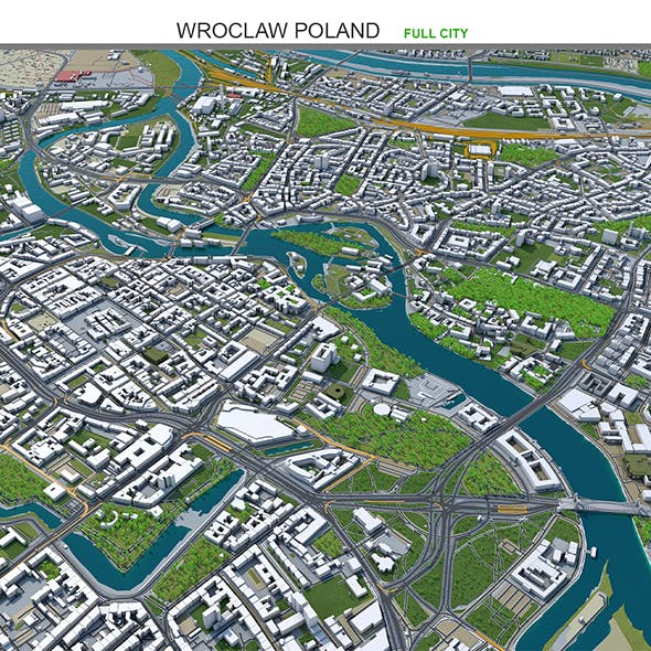 Wroclaw City Poland 3D model 50km