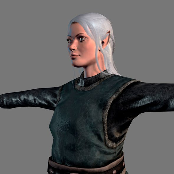 Animated Elf woman-Rigged 3d game character Low-poly 3D model