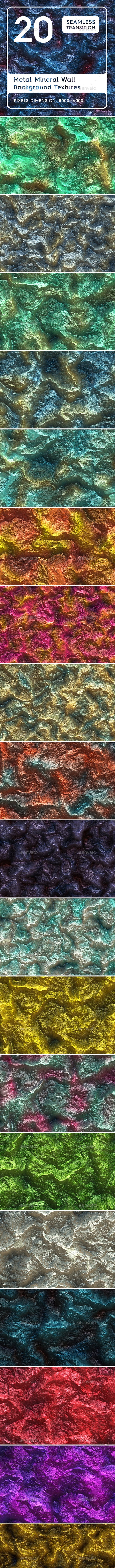 20 Metal Mineral Wall Background Textures - 3DOcean Item for Sale