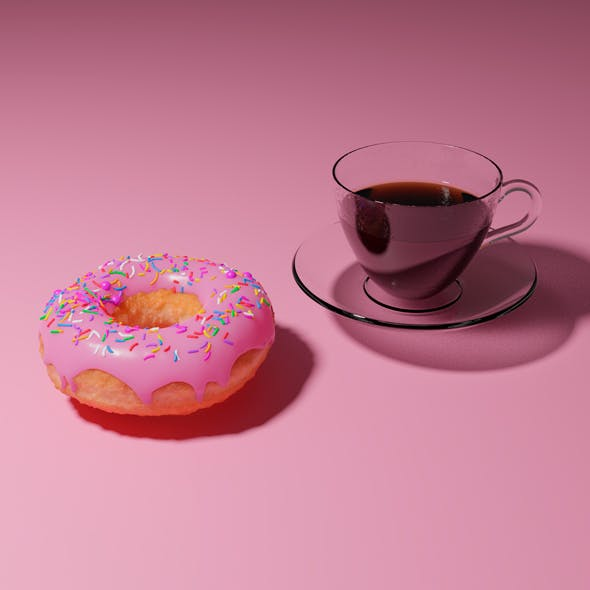 Doughnut and coffee - 3DOcean Item for Sale