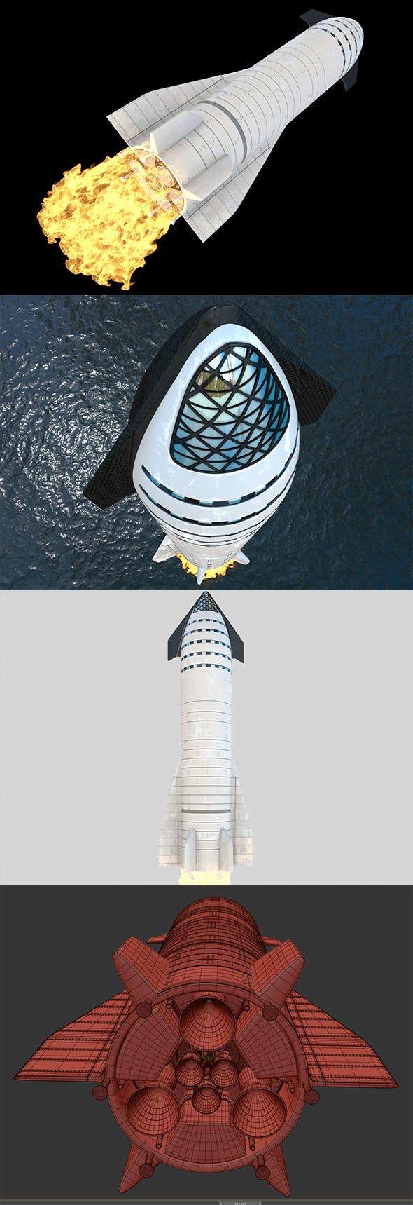 Rocket SpaceX Starship - 3DOcean Item for Sale