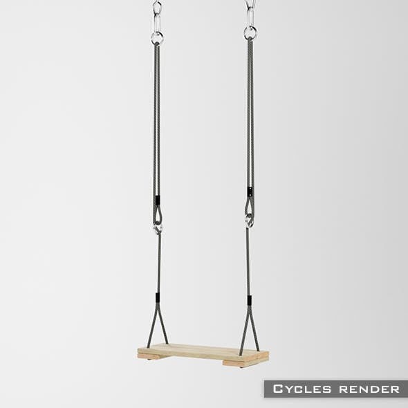 Swings seat with hanging ropes 3D Model