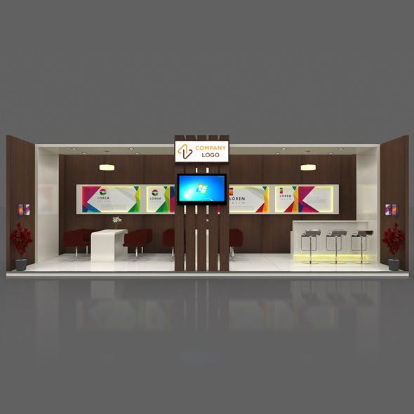 Exhibition Booth 3D Model - 9x3 mtr