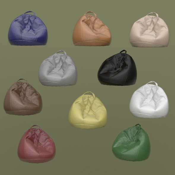 lot of ten colored leather beanbags