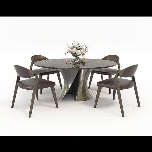Contemporary Design Table and Chair Set 4 - 3DOcean Item for Sale