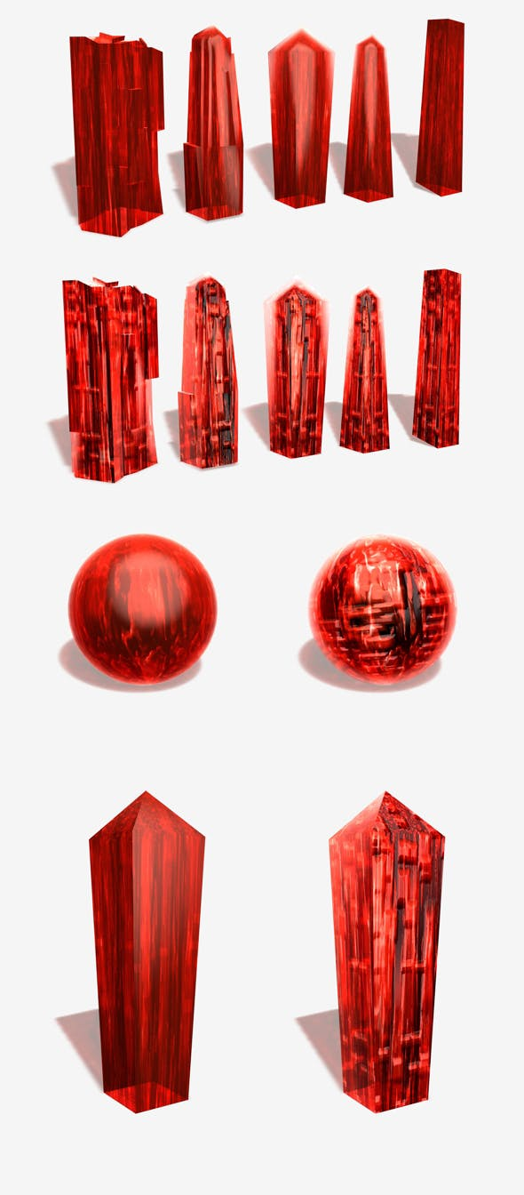 2 Red Crystal Materials - 3DOcean Item for Sale
