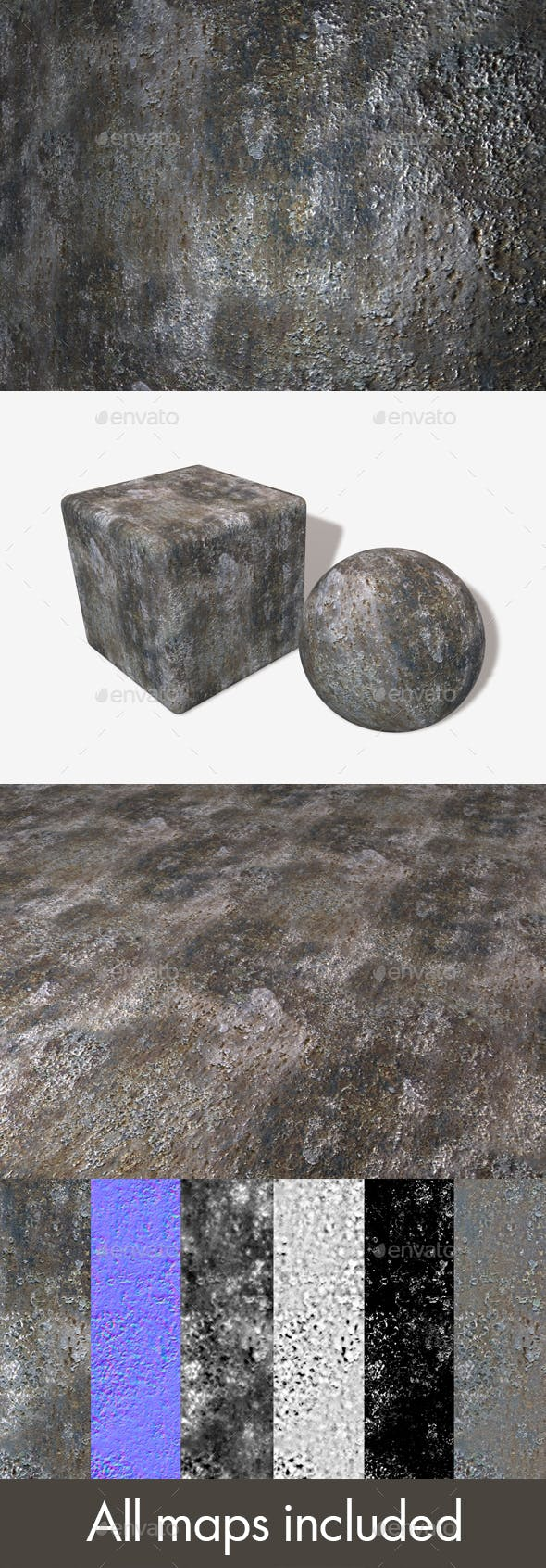 Weathered Metal Seamless Texture - 3DOcean Item for Sale