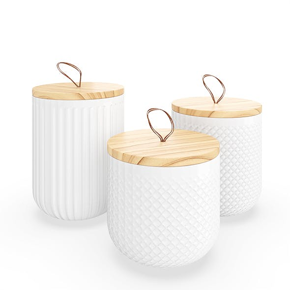 Textured Kitchen Canisters - 3DOcean Item for Sale