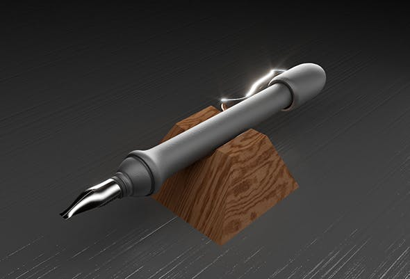 Fountain pen with calligraphy nib - 3DOcean Item for Sale