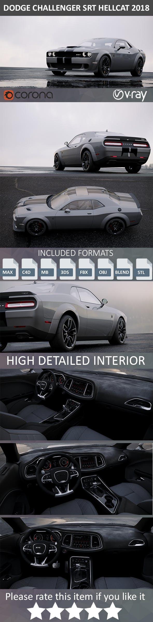 Dodge Challenger SRT Hellcat HD interior 2018 - 3DOcean Item for Sale