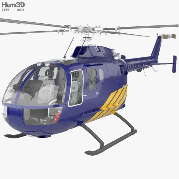 MBB BO 105 with HQ interior - 3DOcean Item for Sale